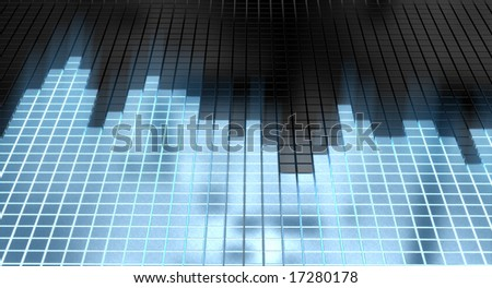 abstract sound equalizer with glowing blue cubes - stock photo