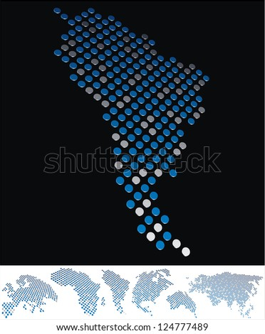 abstract South America map from on array of blue and gray metallic points, on black background with maps of the continents on the white bottom line - stock photo
