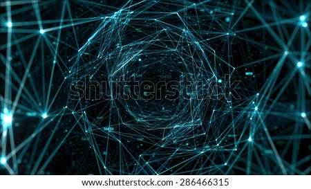 Abstract space background, geometry surfaces, lines and points. Abstract tunnel grid. Can be used as digital dynamic wallpaper, technology background. - stock photo
