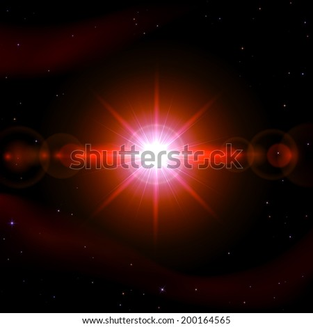 Abstract space background with shining sun, illustration.