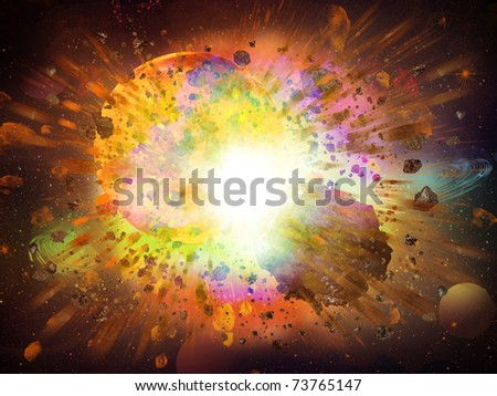 abstract space fantasy - an asteroid collision with a planet - stock photo