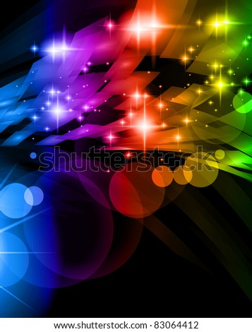 Abstract Space Scenary of llight with Raibow Colours Background. Ideal for futuristic hgh tech business flyer or posters - stock photo