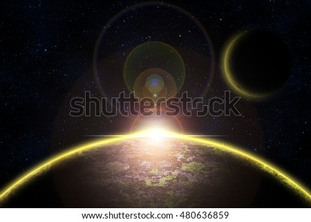 Abstract space theme background with planet in yellow glowing