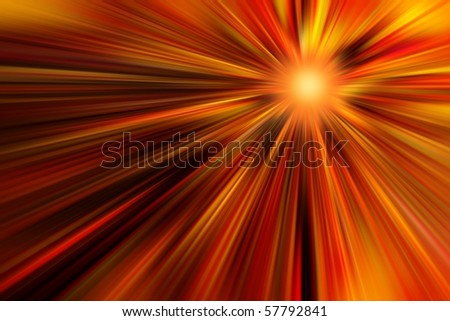 Abstract spacescape, speed of light, fire sun