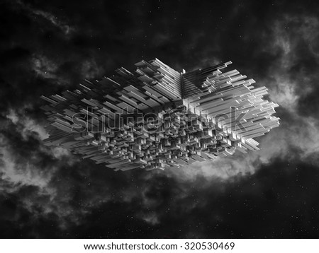 Abstract spaceship with chaotic extruded surface, 3d illustration - stock photo