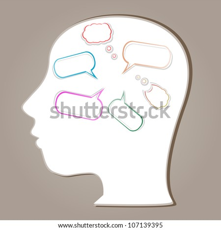 Abstract speaker silhouette with bubbles in the head. Raster - stock photo