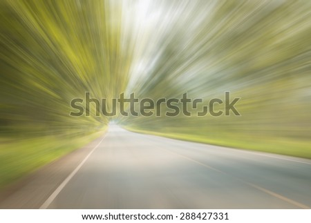 Abstract speed lines on highway. - stock photo