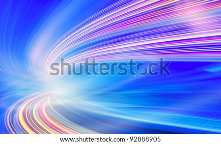 Abstract speed motion in blue highway road tunnel, fast moving toward the light, colorful technology background. Computer generated illustration. - stock photo