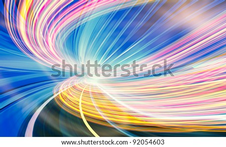 Abstract speed motion in blue highway road tunnel, fast moving toward the light. Fiber optic technology fast light trails.  Computer generated colorful illustration. - stock photo