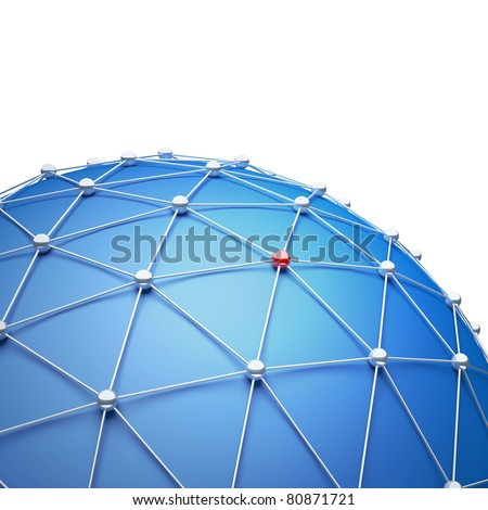 Abstract sphere as a global network. 3d illustration - stock photo