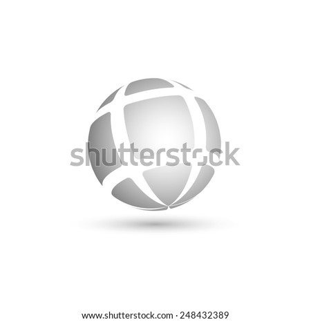 abstract sphere from geometrical figures - stock photo
