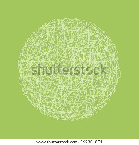 Abstract sphere in wireframe light. Graphic design. Graphic drawing by hand. Green background. A circle of light lines - stock photo