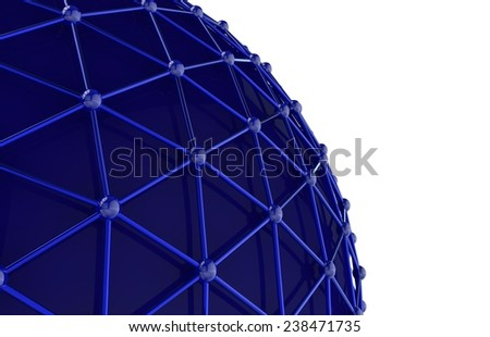 Abstract sphere of connecting the dots with lines - stock photo