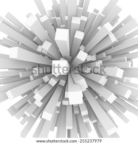 Abstract sphere of 3d blocks - stock photo
