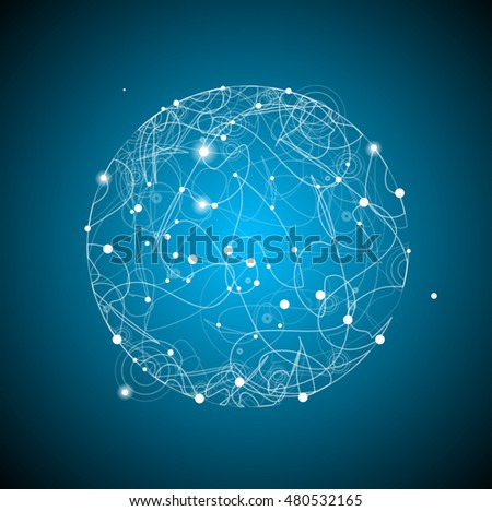 Abstract Sphere Space with Light Points on Blue Background. illustration