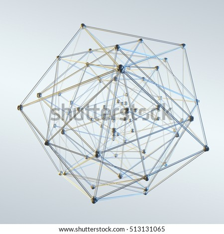 Abstract sphere with dots and lines on grey background 3D rendering