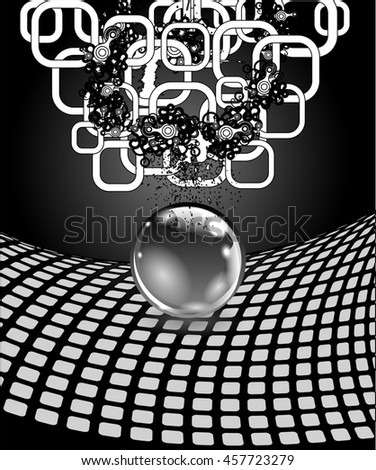 Abstract sphere with surface. Concept business design. Raster version - stock photo