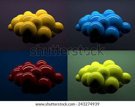 Abstract spheres, conception of digital cloud icon. 3d render illustration - stock photo