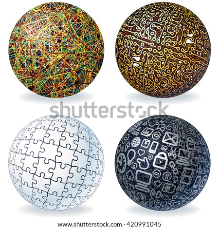 Abstract Spheres Set. Geometric Modern Globe, Technology Concept, Digital Data Visualization, Social Network Graphic Concept. - stock photo
