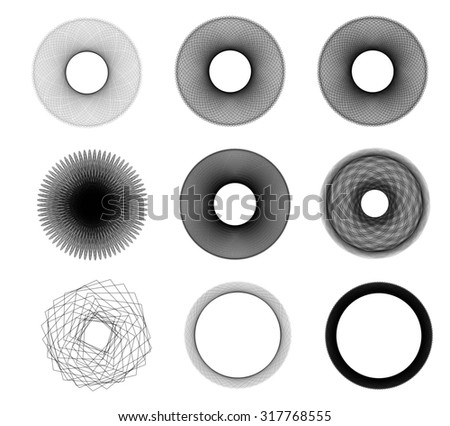 Abstract spherical shapes isolated over white background. Black and white shapes illustration set - stock photo