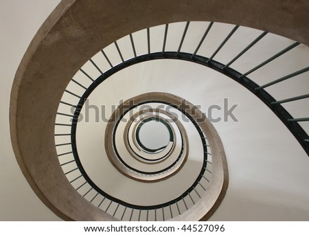 Abstract spiral staircase in Strasbourg hotel in France