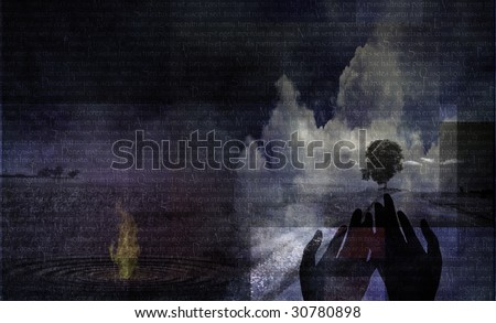 Abstract Spiritual Landscape with Text - stock photo