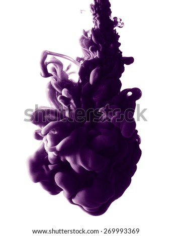 Abstract splash of purple paint isolated on white background - stock photo