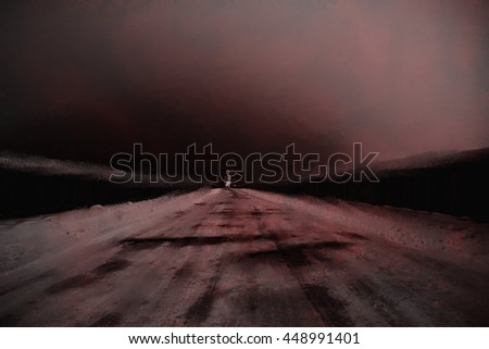 abstract spooky painted background with creepy ghost staying on abandoned road