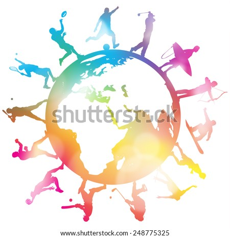 Abstract Sporting Silhouettes around a Colourful Globe. Great Abstract illustration of various Sporting Athletes around a Globe in silhouette.   - stock photo
