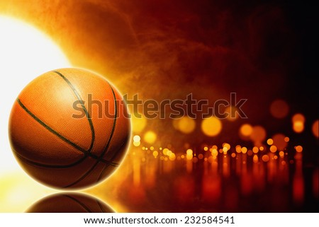 Abstract sports background - basketball, orange glowing lights with reflection - stock photo