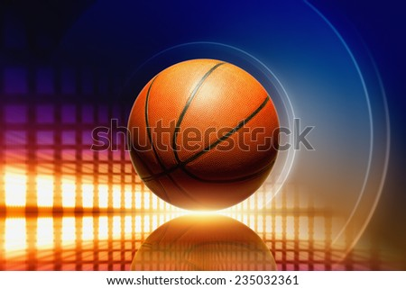 Abstract sports background - basketball with reflection, orange glowing lights  - stock photo