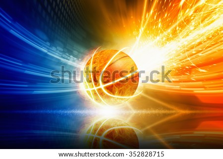 Abstract sports background - burning basketball with reflection, orange and blue glowing lights  - stock photo
