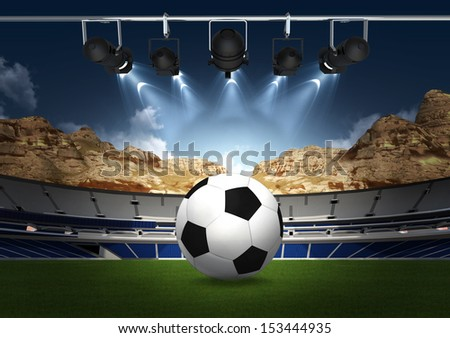 Abstract Sports background - green stadium  with spotlight - stock photo