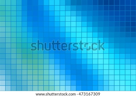 Abstract square mosaic tile blue background for any design, horizontal format.