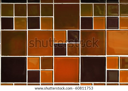 Abstract square pixel mosaic background [Modern glossy tile] - stock photo