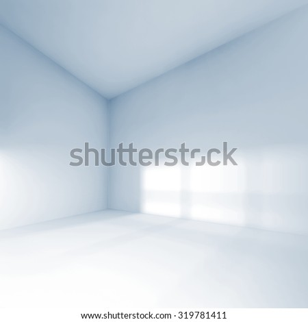 Abstract square white interior, empty room with soft light illumination. 3d render illustration - stock photo