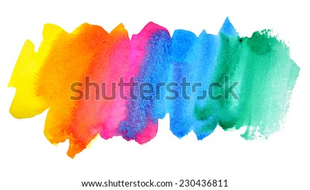 Abstract stain watercolors colors wet on dry paper - stock photo