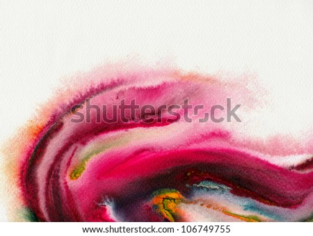 Abstract stain watercolors ; colors wet on wet art paper ; hot tone version - stock photo