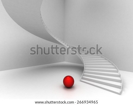 Abstract Staircase Background and red sphere - stock photo
