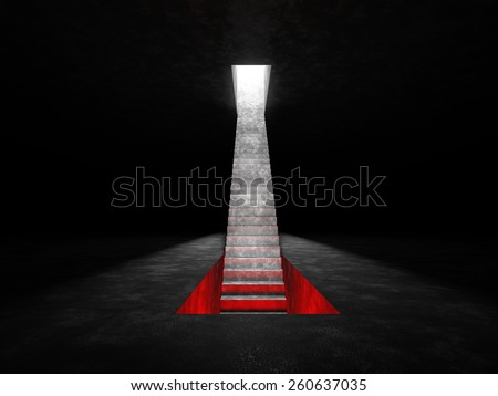 Abstract staircase that is placed on a dark space. Staircase descends into a niche in the floor, which glow red and raised in a niche in the ceiling that shines white light - stock photo