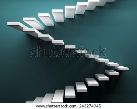 Abstract stairs at coloured background. 3d render illustration