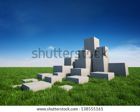 Abstract stairs of concrete cubes on field with grass and sky - stock photo