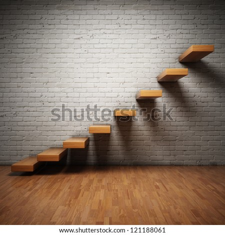 Abstract stairs on brick wall in interior