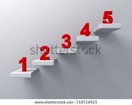 Abstract stairs or steps concept on white wall background with red number from one to five. 3D rendering.