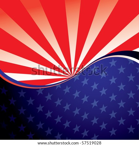 Abstract stars and stripes american background with radiate pattern