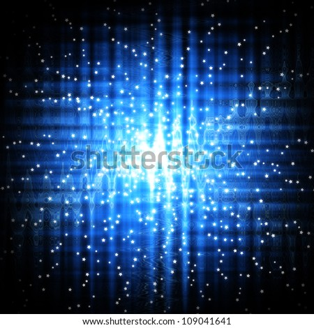 Abstract stars on blue light background - stock photo