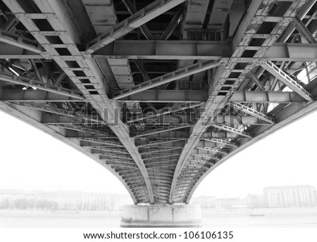 Abstract steel construction from under the bridge - Hungary
