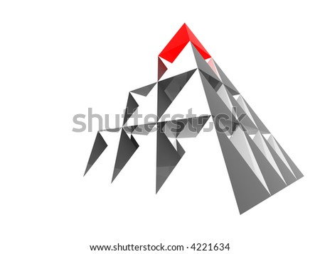 Abstract steel pyramid with red top. - stock photo