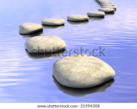 Abstract stone path on water - stock photo