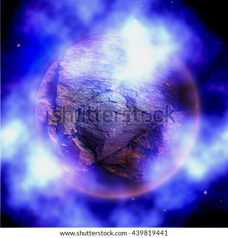 Abstract stone planet with blue and white clouds. Unknown celestial body with nebula on a black background - stock photo